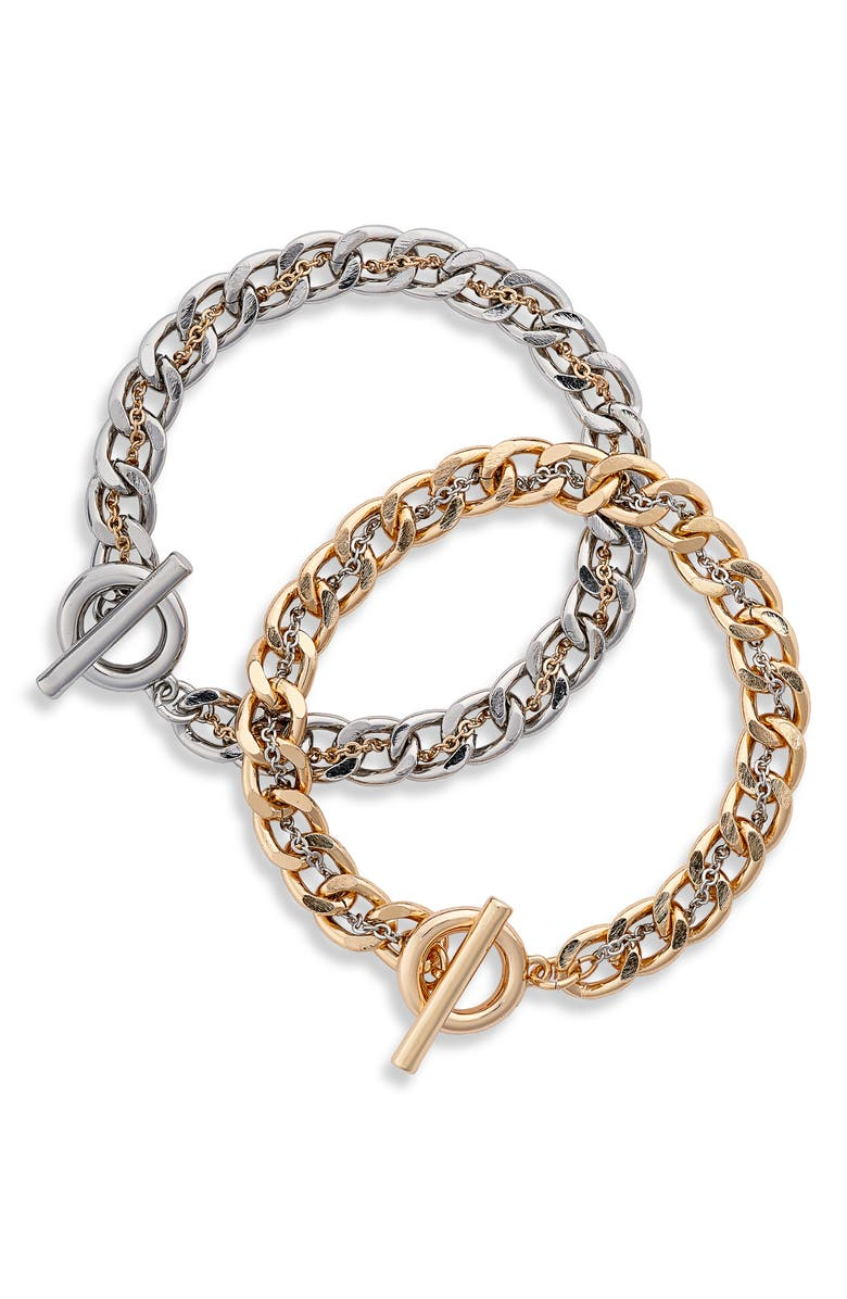 8 OTHER REASONS Set of 2 Bracelets, Main, color, GOLD AND SILVER