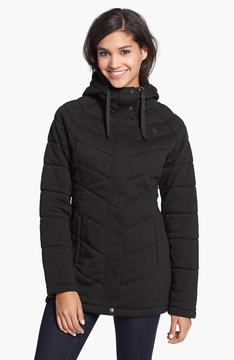 THE NORTH FACE 'Miss Kit' Hooded Fleece Jacket, Main, color, 001