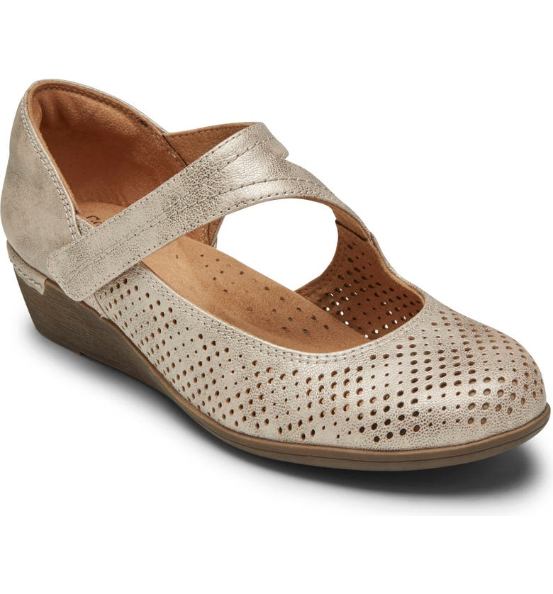 ROCKPORT COBB HILL Devyn Wedge Mary Jane, Main, color, METALLIC LEATHER