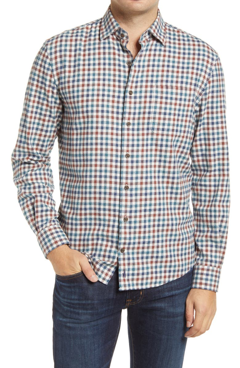 JOHNNIE-O Hangin' Out Partee Check Flannel Button-Up Shirt, Main, color, MARINER