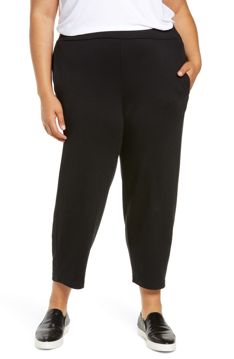 EILEEN FISHER Lantern Ankle Pants, Main, color, Black