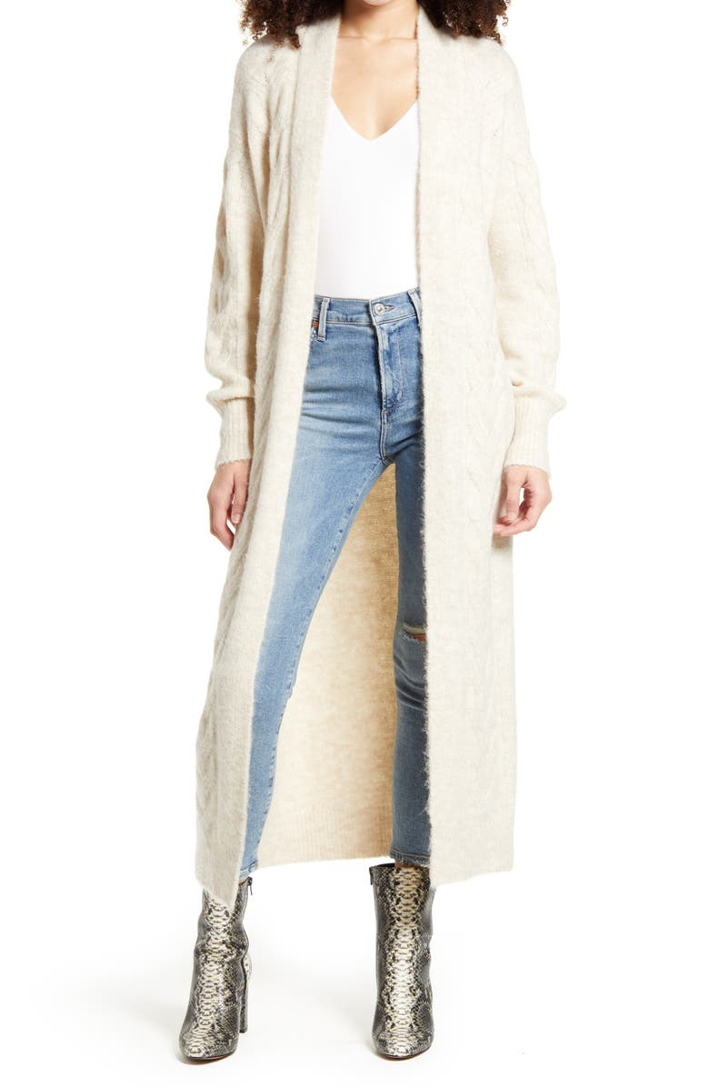 LEITH Cozy Cable Knit Longline Cardigan, Main, color, BEIGE OATMEAL LIGHT HEATHER