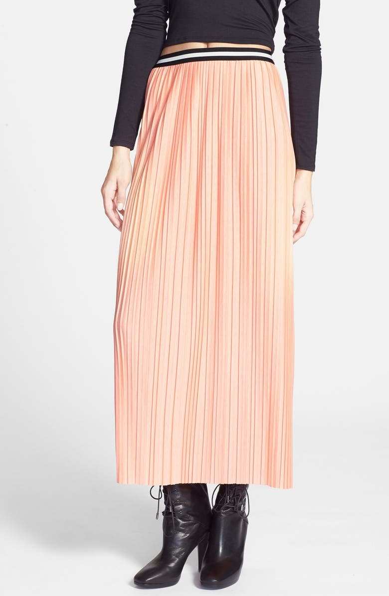 TOPSHOP Pleated Jersey Maxi Skirt, Main, color, PEACH