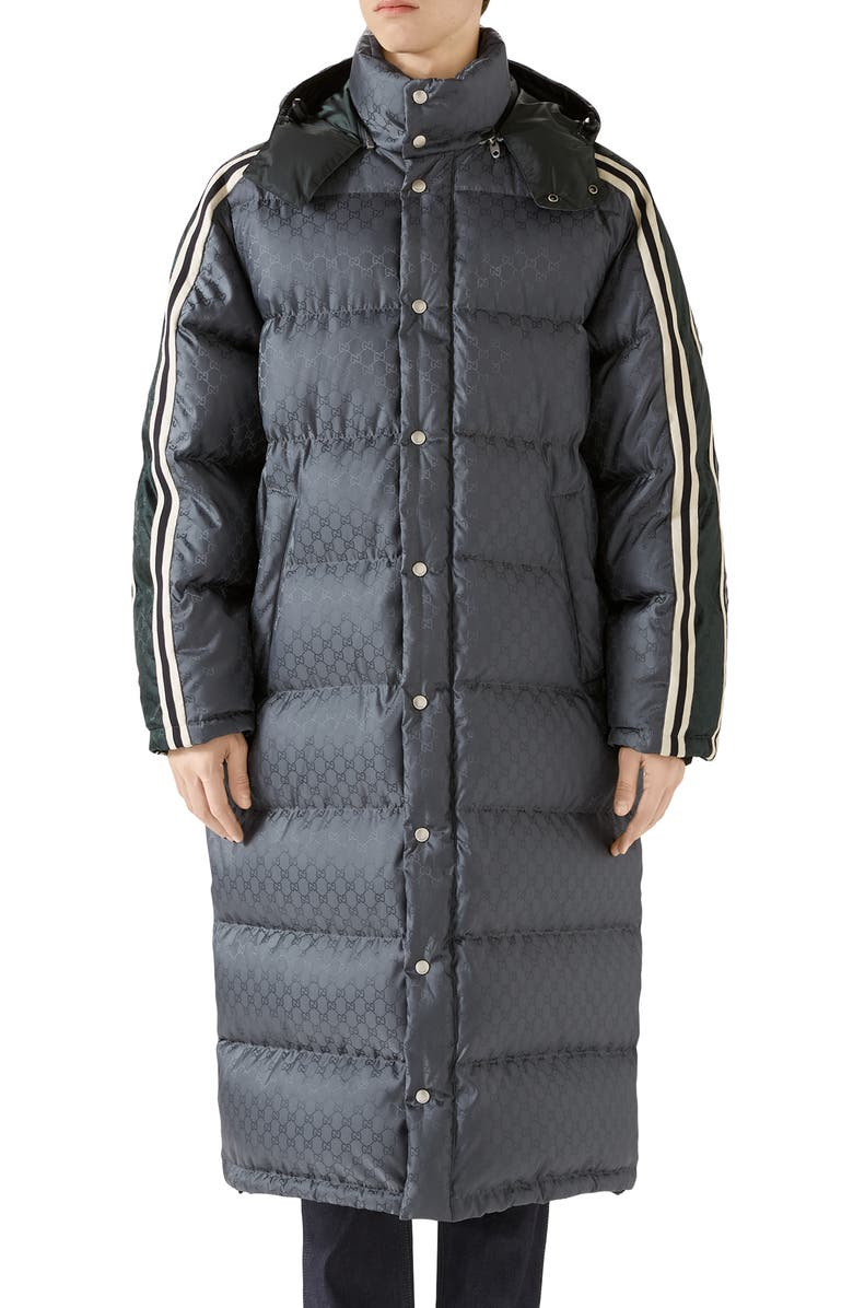 GUCCI GG Jacquard Quilted Down Nylon Coat, Main, color, 049