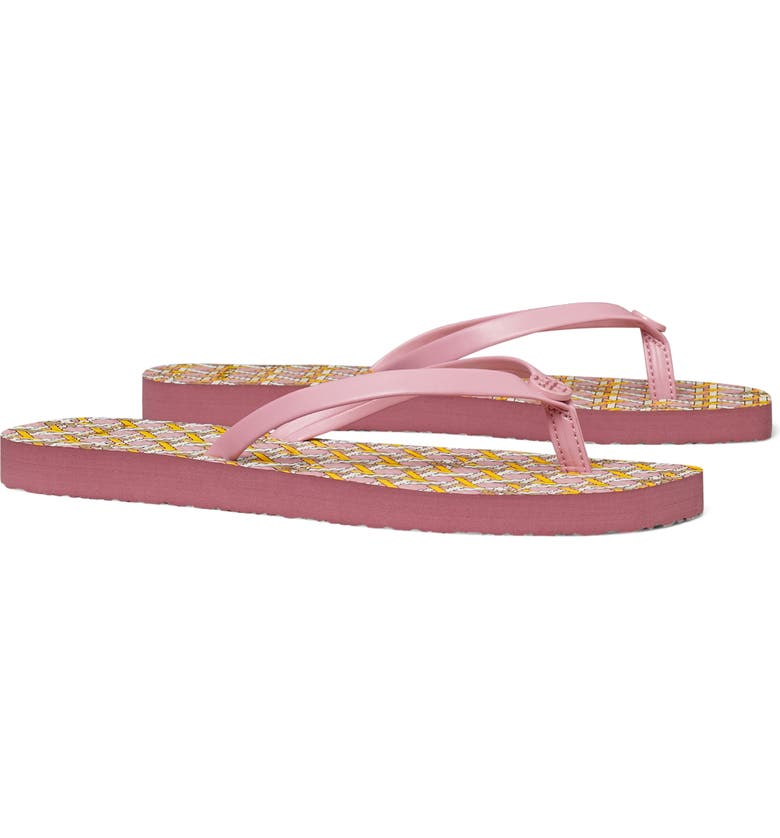 TORY BURCH Thin Flip Flop, Main, color, BLUSHING PINK CANING GEO