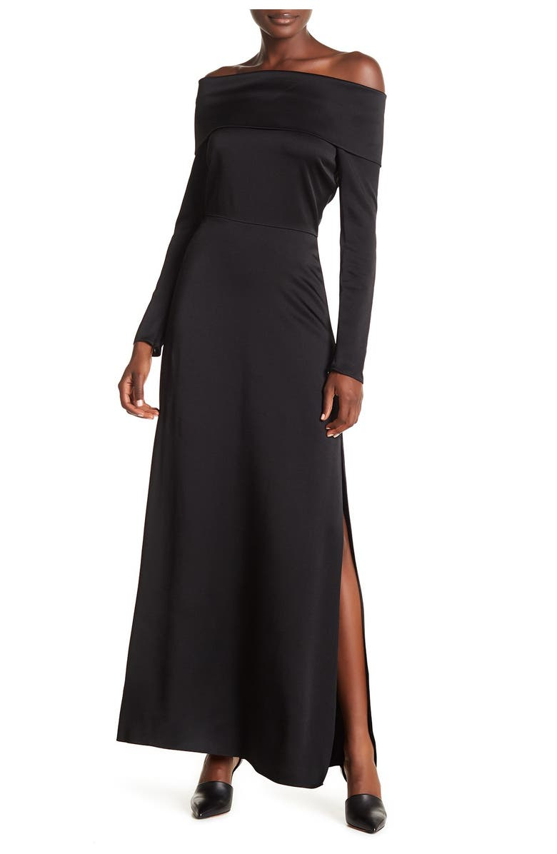 THEORY Kensing Off-the-Shoulder Maxi Dress, Main, color, BLACK