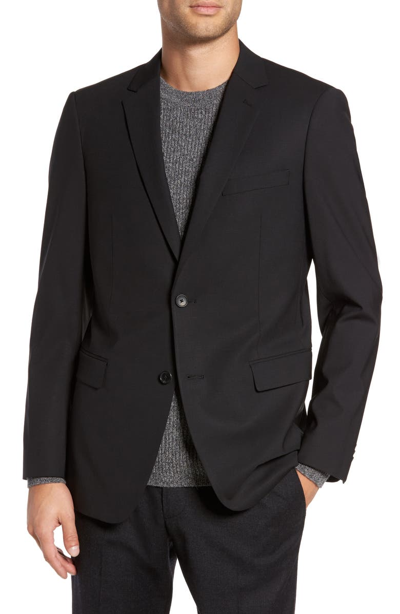 THEORY Wellar New Tailor Trim Fit Wool Blend Sport Coat, Main, color, BLACK