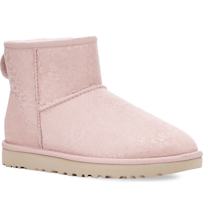 UGG<SUP>®</SUP> Classic Mini II Genuine Shearling Lined Boot, Main, color, QUARTZ SNOW LEOPARD SUEDE