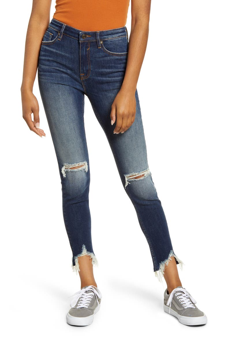 VIGOSS Distressed High Waist Ankle Skinny Jeans, Main, color, 400