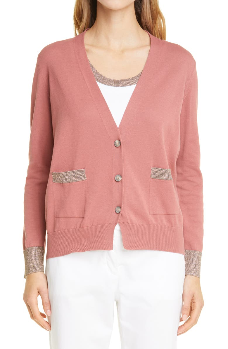 FABIANA FILIPPI Metallic Trim Cotton Cardigan, Main, color, TABASCO