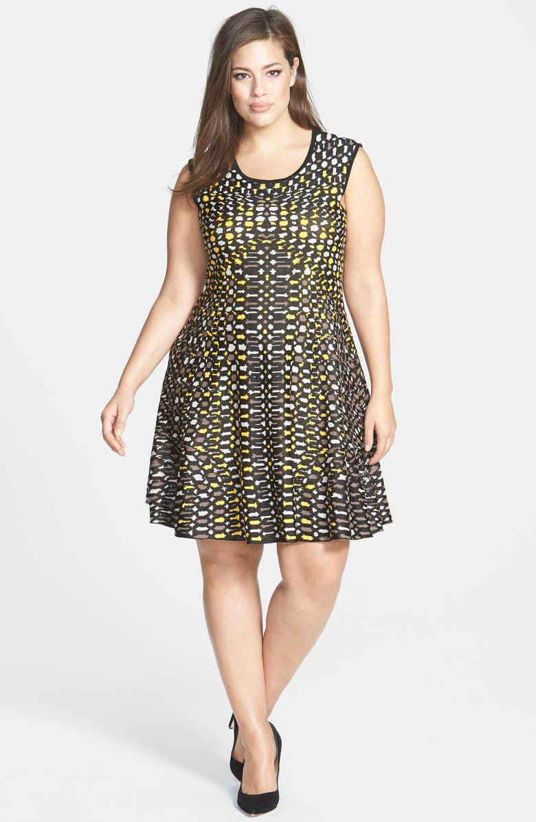 NIC+ZOE Jagged Dot Fit & Flare Dress, Main, color, MULTI
