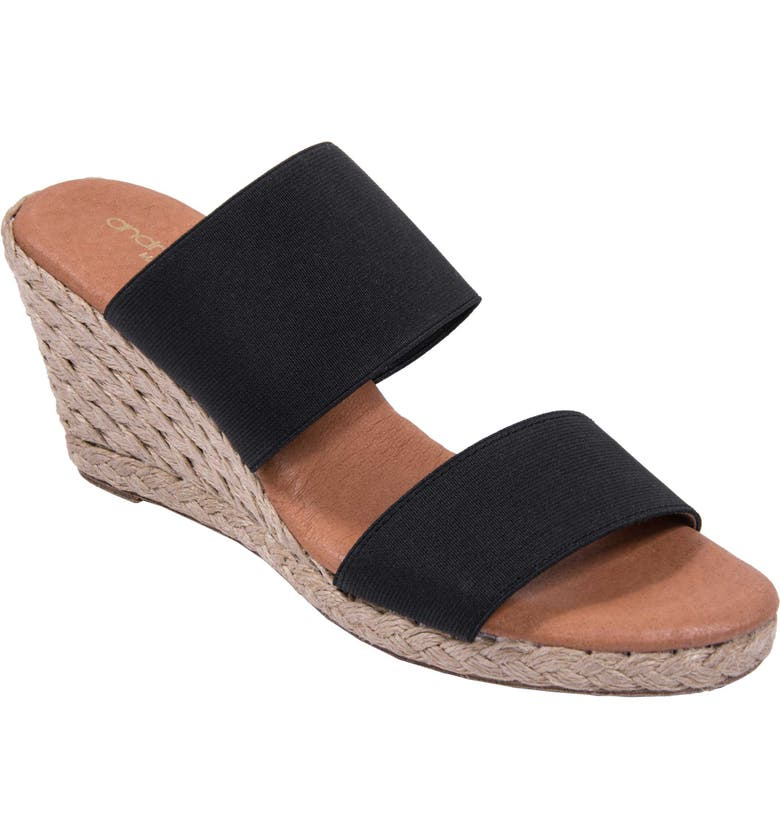ANDRÉ ASSOUS Amalia Strappy Espadrille Wedge Slide Sandal, Main, color, BLACK FABRIC
