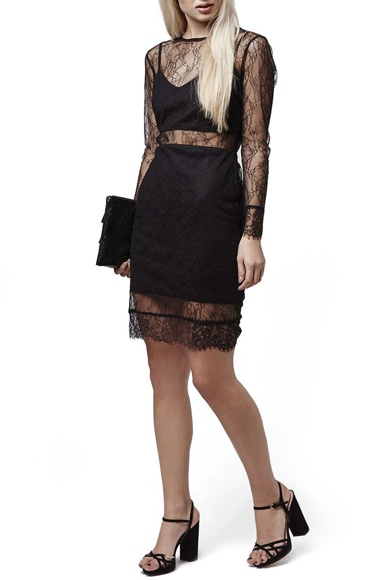 TOPSHOP Lace Overlay Body-Con Dress, Main, color, 001