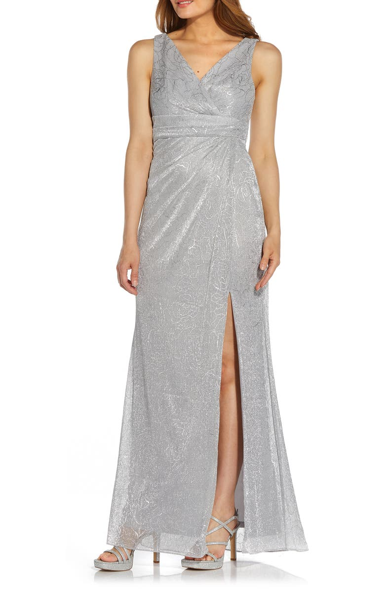 ADRIANNA PAPELL Metallic Floral Stencil Mesh Draped Gown, Main, color, SILVER