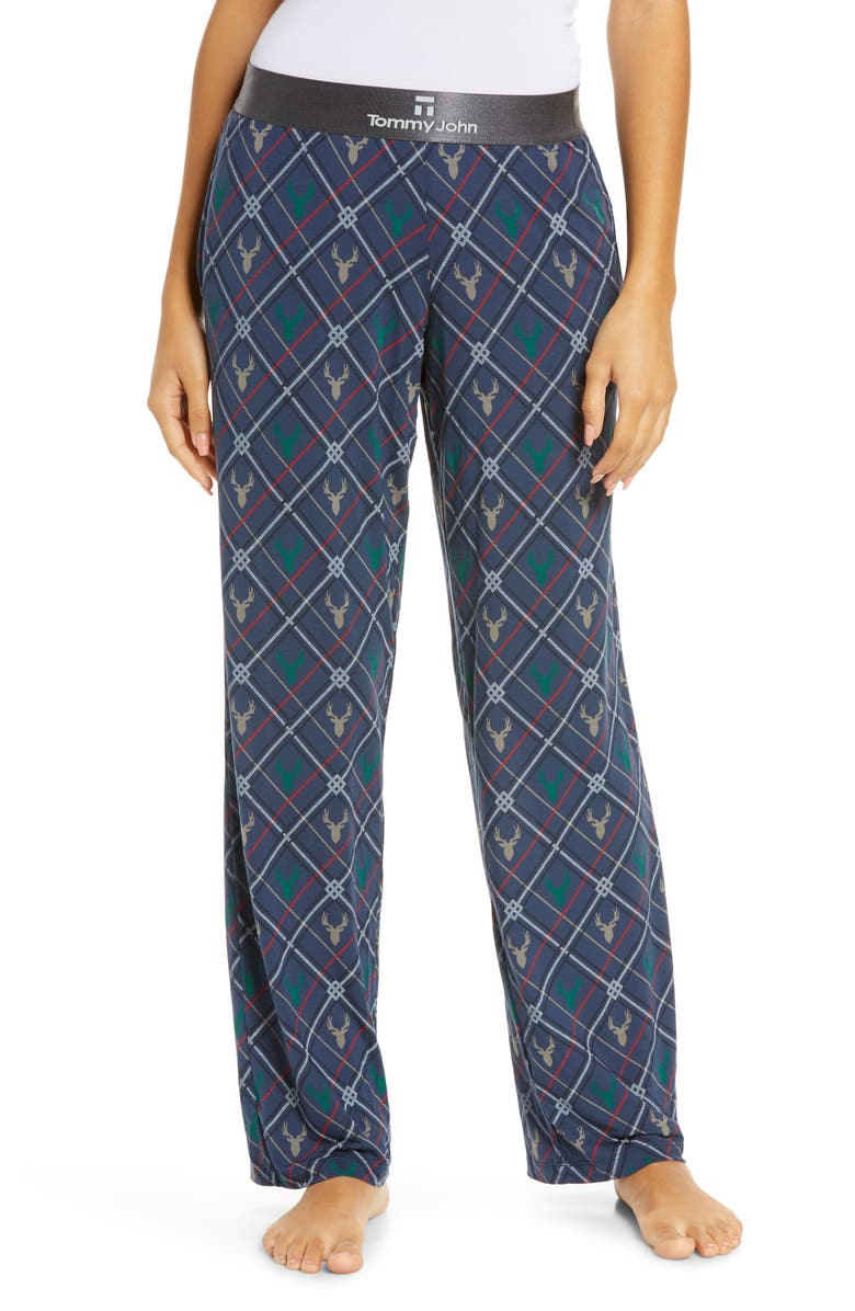TOMMY JOHN Second Skin Print Lounge Pants, Main, color, DEER HEAD - DRESS BLUES