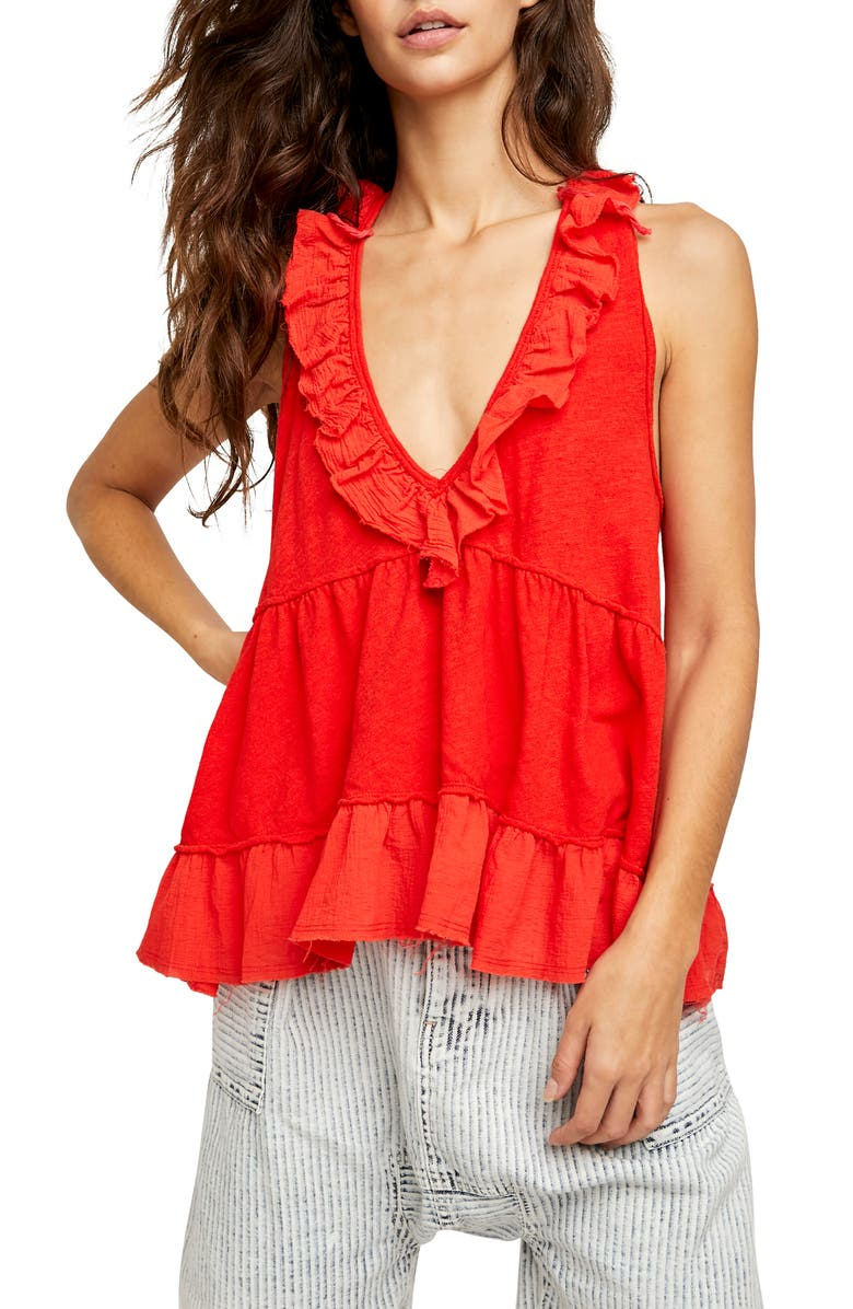 FREE PEOPLE Out & About Tank, Main, color, SCARLET IBIS