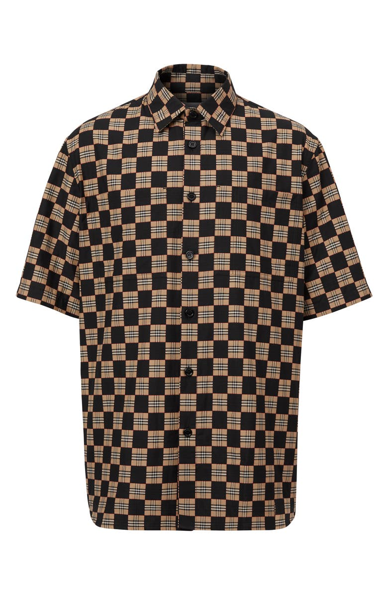 BURBERRY Trulo Chequer Short Sleeve Button-Up Shirt, Main, color, 001