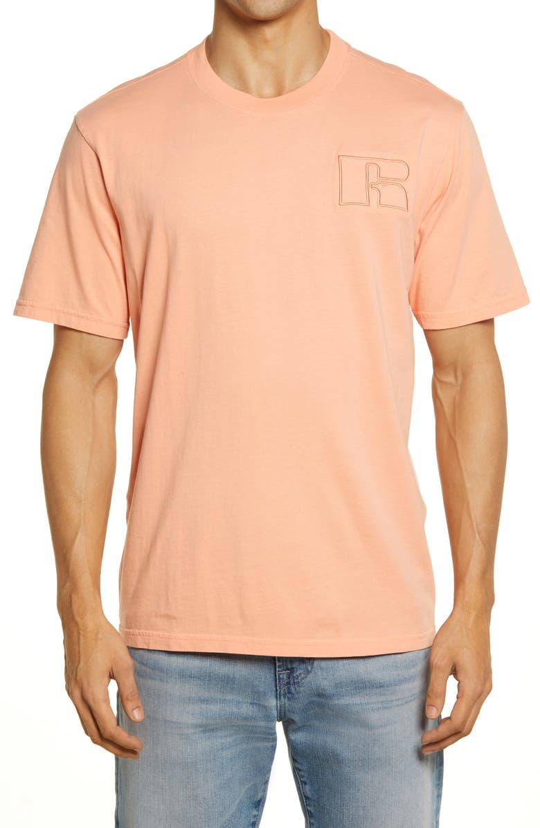 RUSSELL ATHLETIC Men's Short Sleeve Logo T-Shirt, Main, color, CORAL PINK
