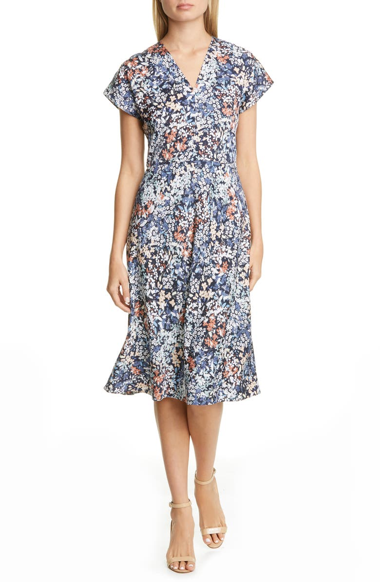 NORDSTROM SIGNATURE Floral Stretch Silk A-Line Dress, Main, color, 410