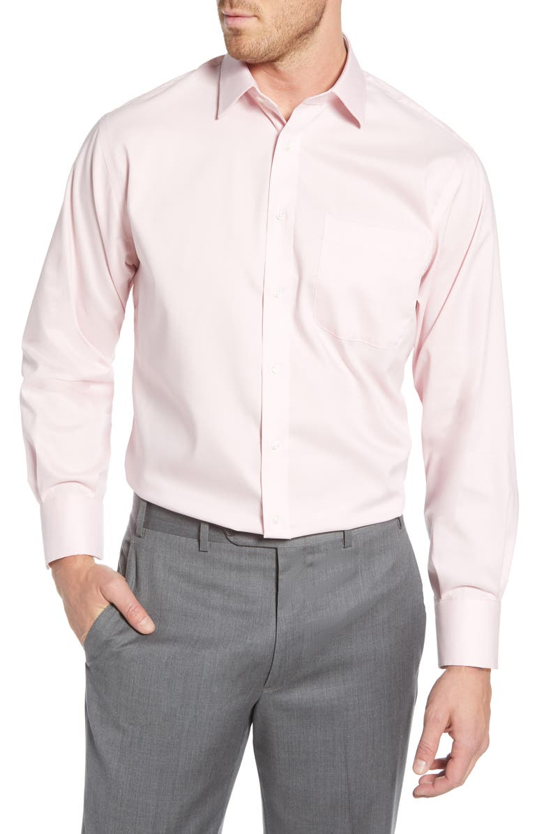 NORDSTROM MEN'S SHOP Nordstrom Classic Fit Non-Iron Solid Dress Shirt, Main, color, PINK BREATH