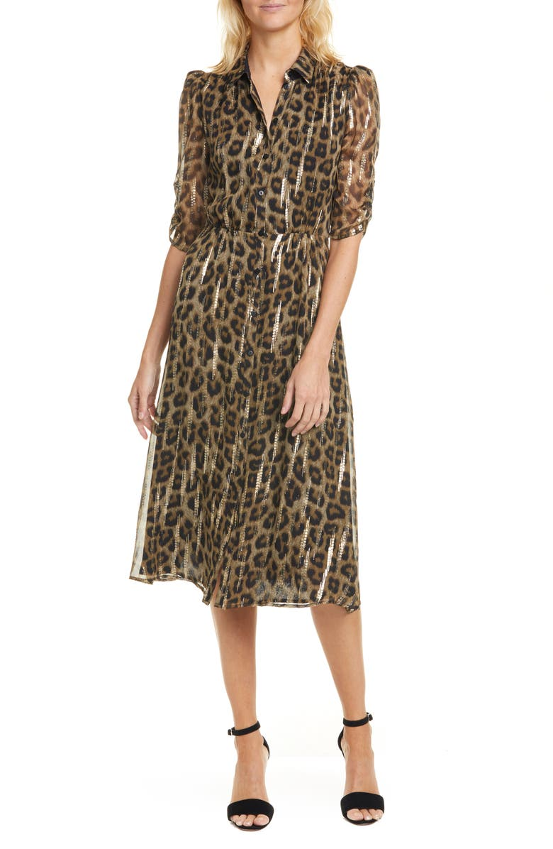 BA&SH Metallic Leopard Print Shirtdress, Main, color, 960