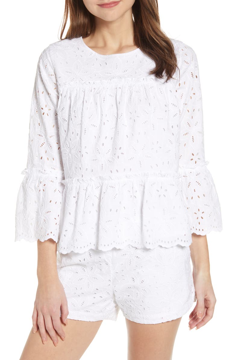 VINEYARD VINES Eyelet Tiered Cotton Blouse, Main, color, 100