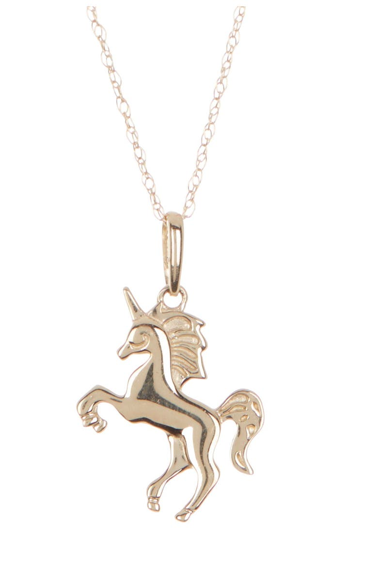 CANDELA JEWELRY 14K Yellow Gold Unicorn Pendant Necklace, Main, color, GOLD