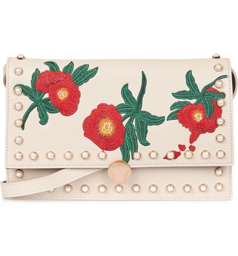 TOPSHOP Ocean Pearl & Embroidered Faux Leather Crossbody Bag, Main, color, STONE MULTI
