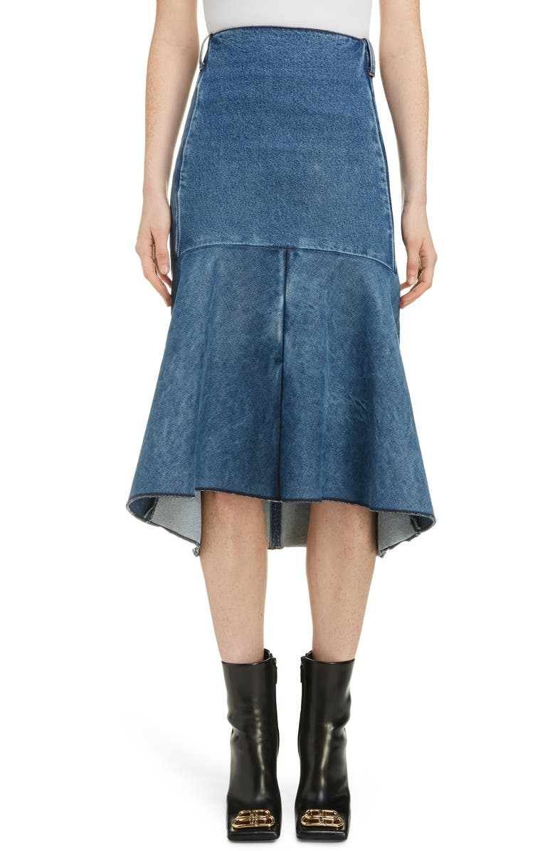 BALENCIAGA 3D Molded Flare Hem Denim Midi Skirt, Main, color, 400