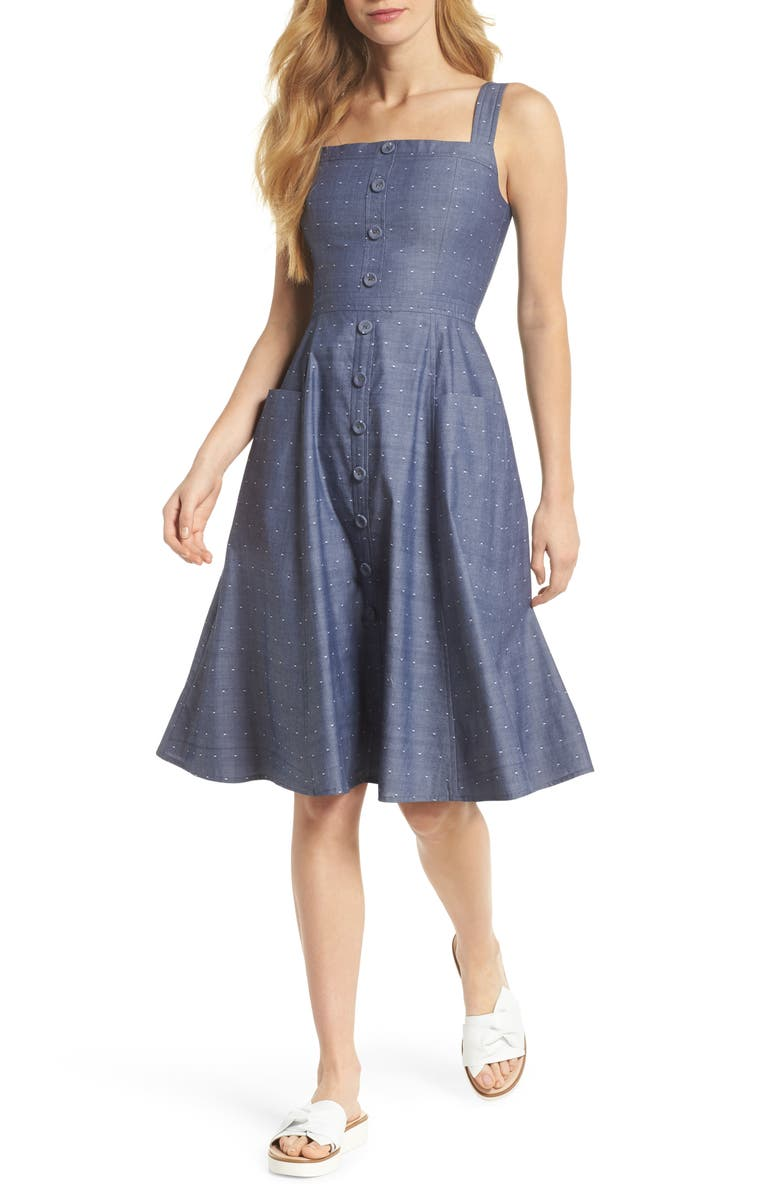 GAL MEETS GLAM COLLECTION Riley Dot Chambray Fit & Flare Sundress, Main, color, CHAMBRAY WITH WHITE