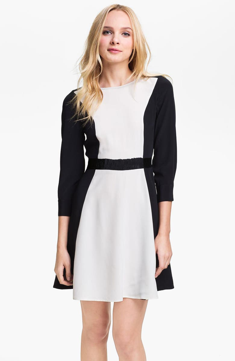 MARC BY MARC JACOBS 'Avery' Colorblock Silk Dress, Main, color, TALC MULTI