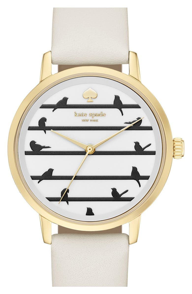 KATE SPADE NEW YORK 'birds on a wire - metro' leather strap watch, 34mm, Main, color, 100