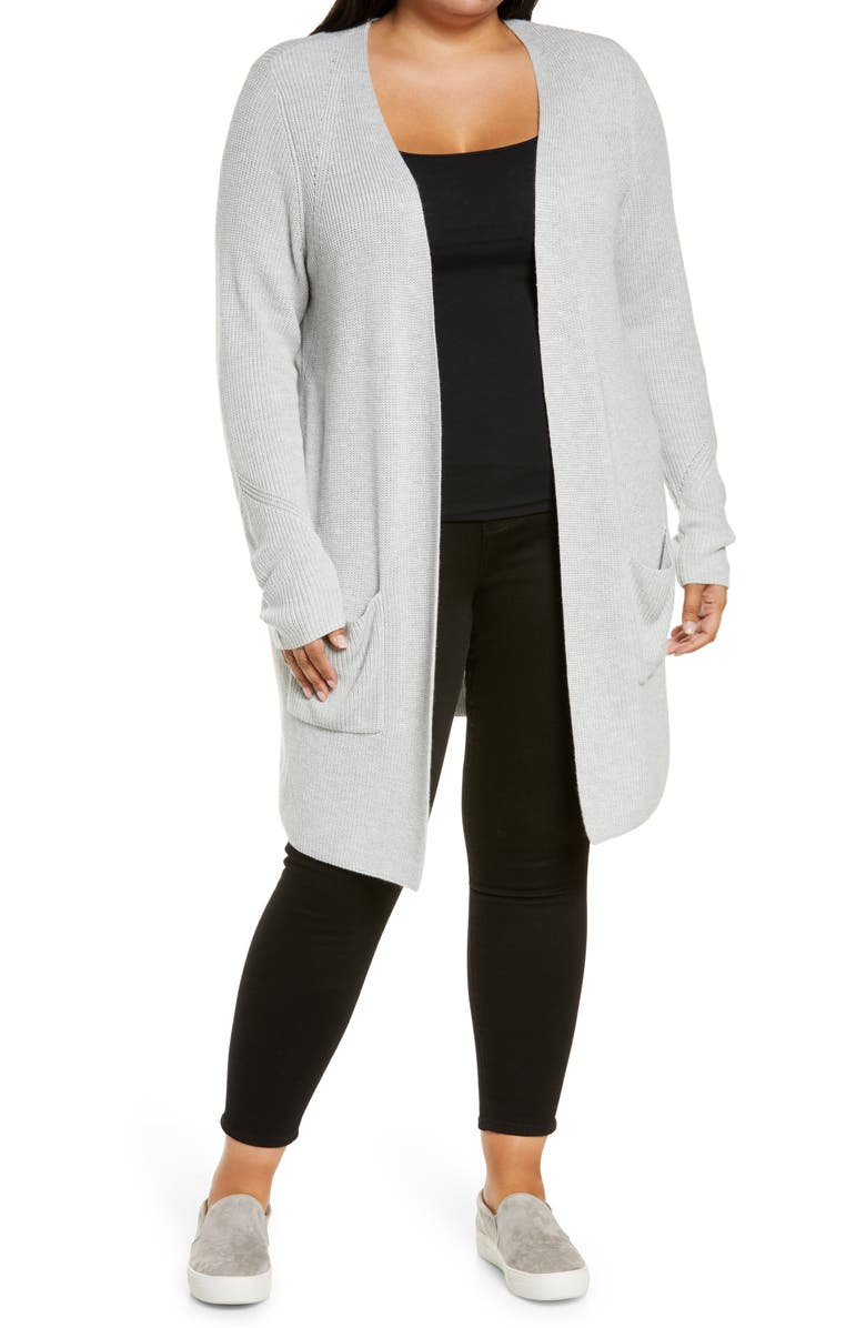 HALOGEN<SUP>®</SUP> Long Cardigan, Main, color, GREY LIGHT HEATHER