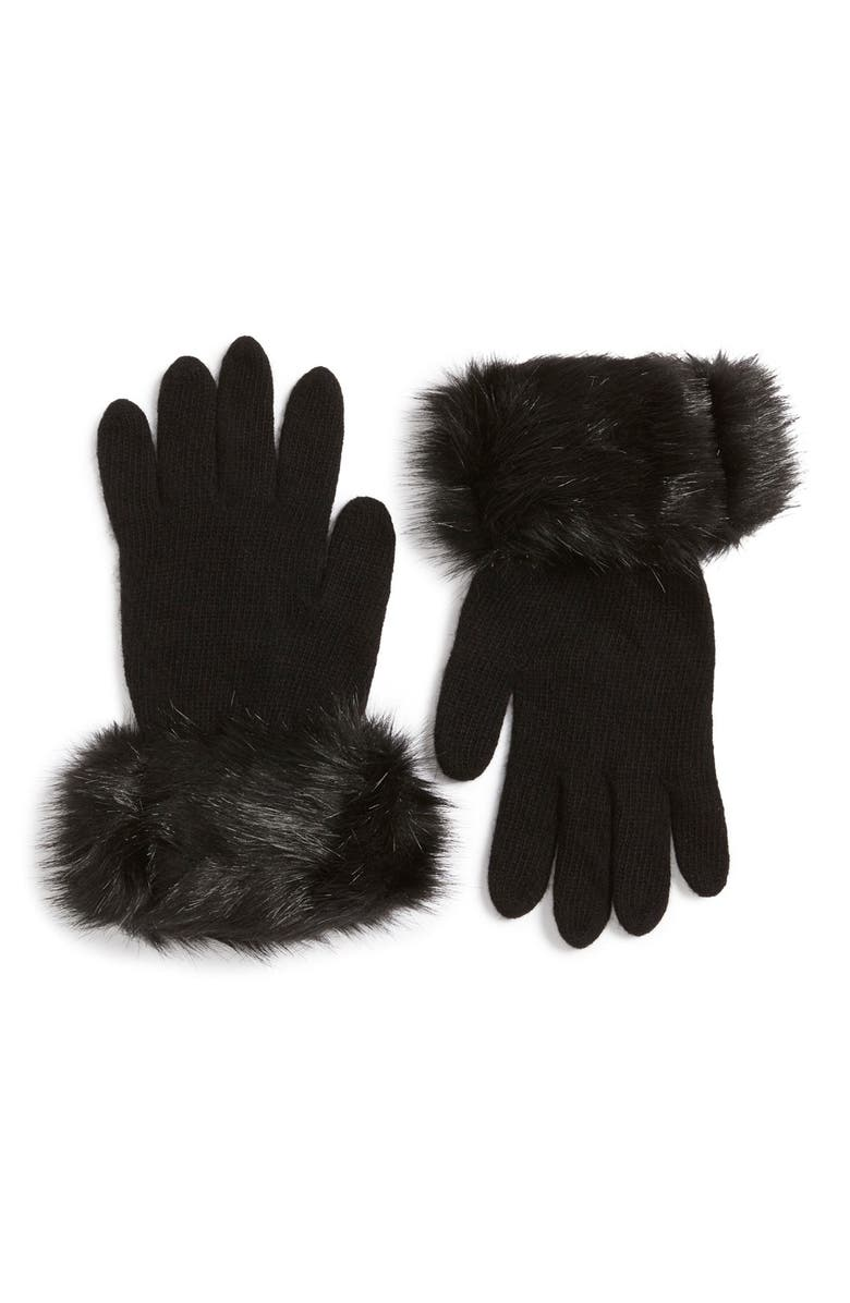 PARKHURST Faux Fur Trim Gloves, Main, color, 001