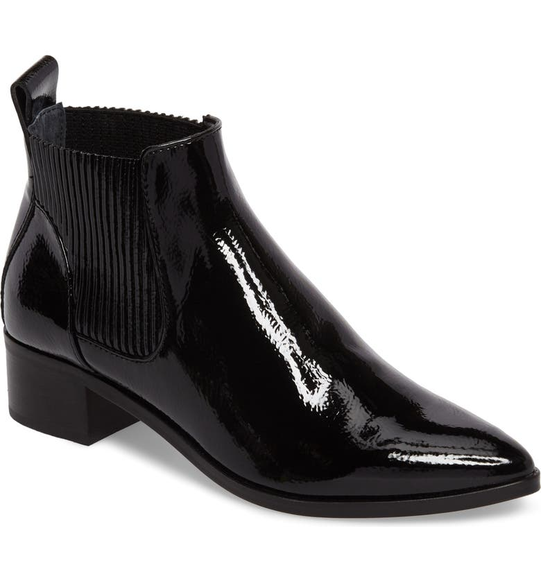 DOLCE VITA Macie Pointy Toe Chelsea Bootie, Main, color, BLACK PATENT