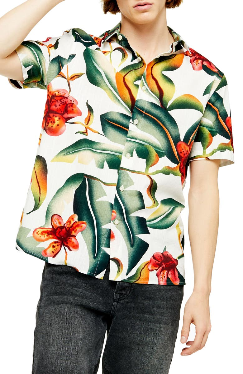 TOPMAN Floral Oversize Short Sleeve Button-Up Shirt, Main, color, 300
