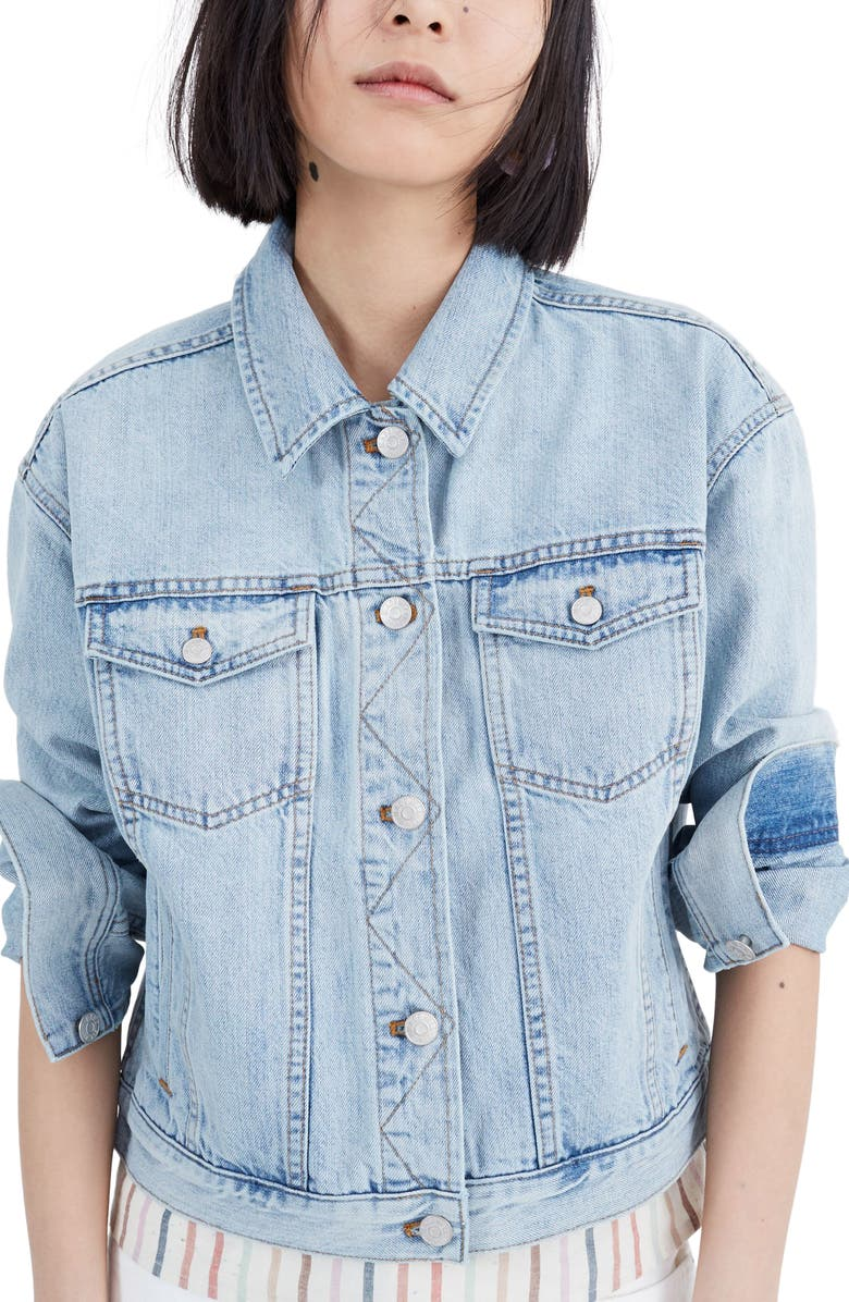 MADEWELL The Boxy Crop Jean Jacket, Main, color, FITZGERALD WASH