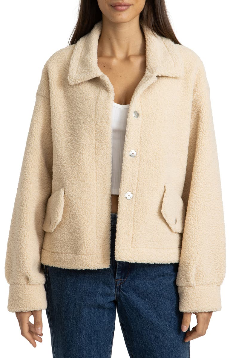 BLANKNYC Bonded Faux Shearling Jacket, Main, color, SNOW ANGEL