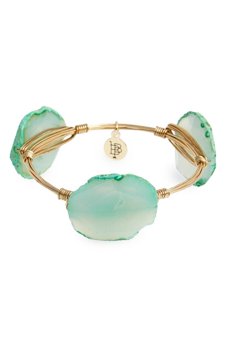 BOURBON AND BOWETIES Dyed Agate Bracelet, Main, color, Green