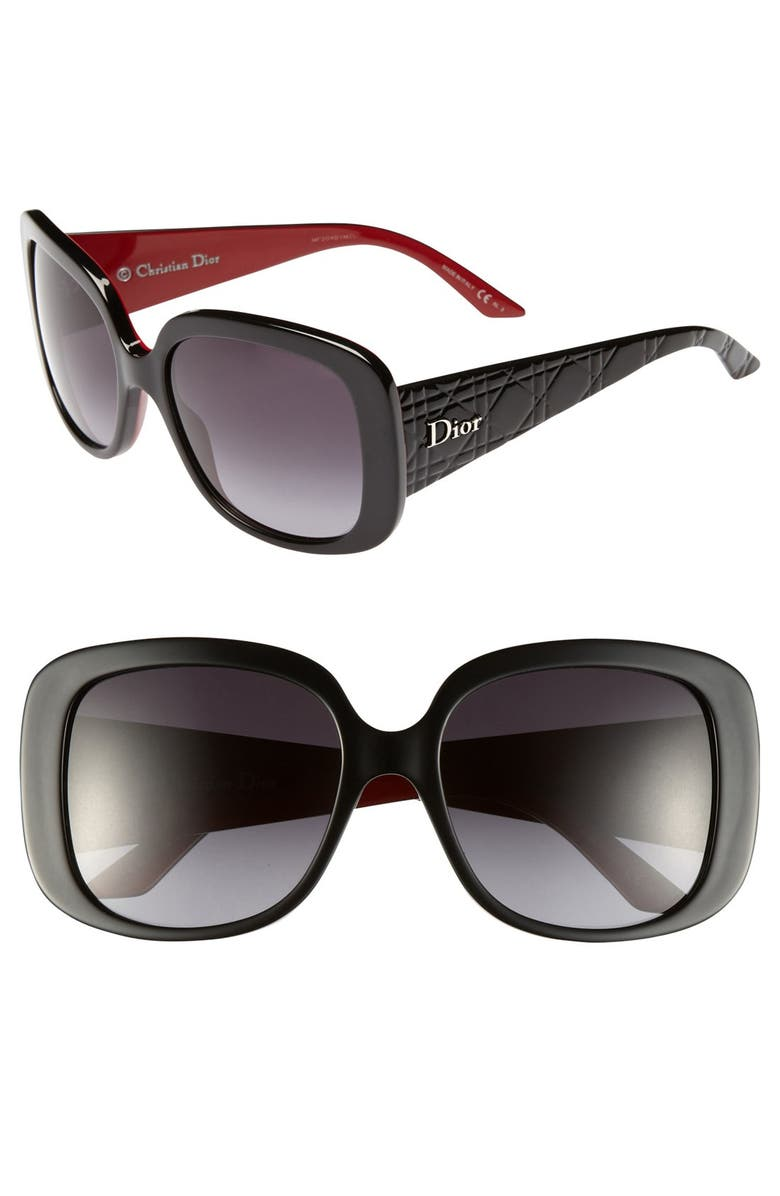 DIOR 'Ladylady' 56mm Sunglasses, Main, color, BLACK/ RED