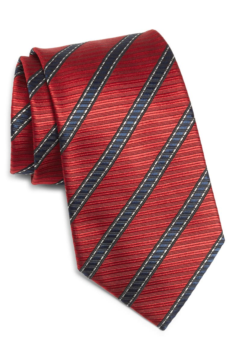 ERMENEGILDO ZEGNA Stripe Silk Tie, Main, color, RED