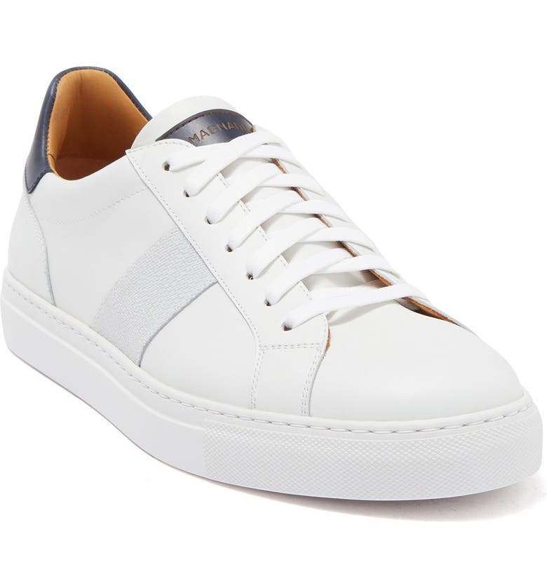MAGNANNI Commando Leather Low Top Sneaker, Main, color, WHITE/NAVY