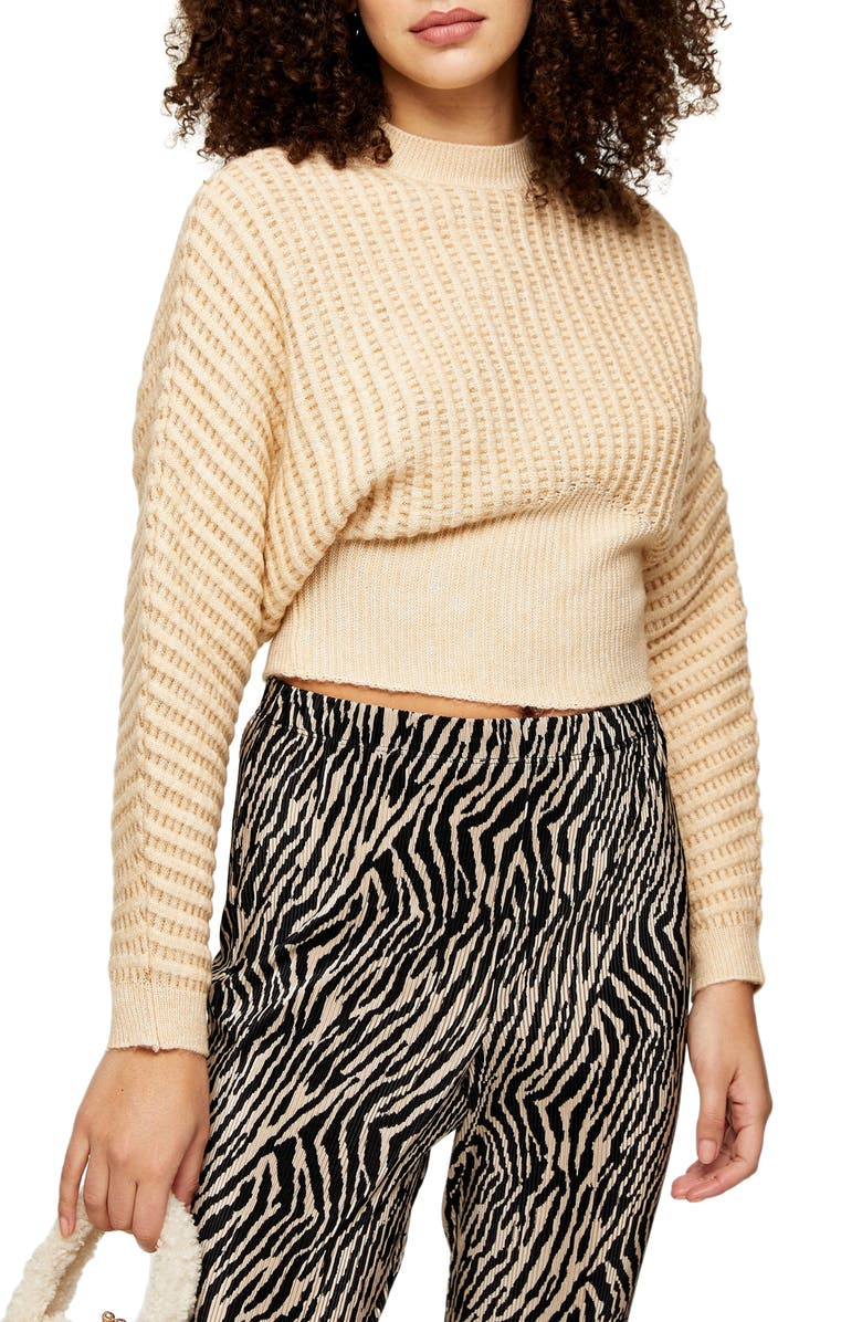 TOPSHOP Ovoid Waisted Ribbed Sweater, Main, color, NUDE