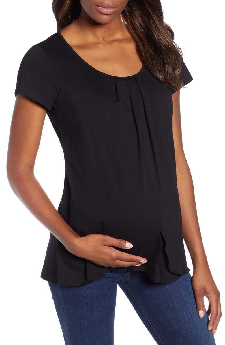 ANGEL MATERNITY Petal Front Maternity Shirt, Main, color, 001