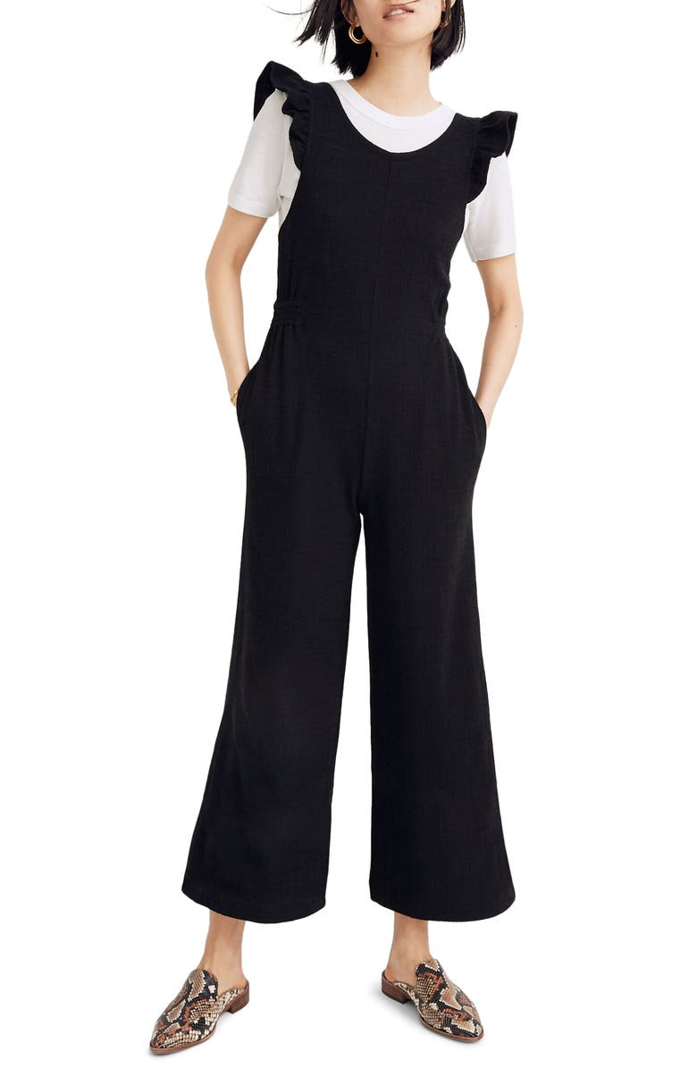 MADEWELL Ruffle Strap Open Back Jumpsuit, Main, color, 001