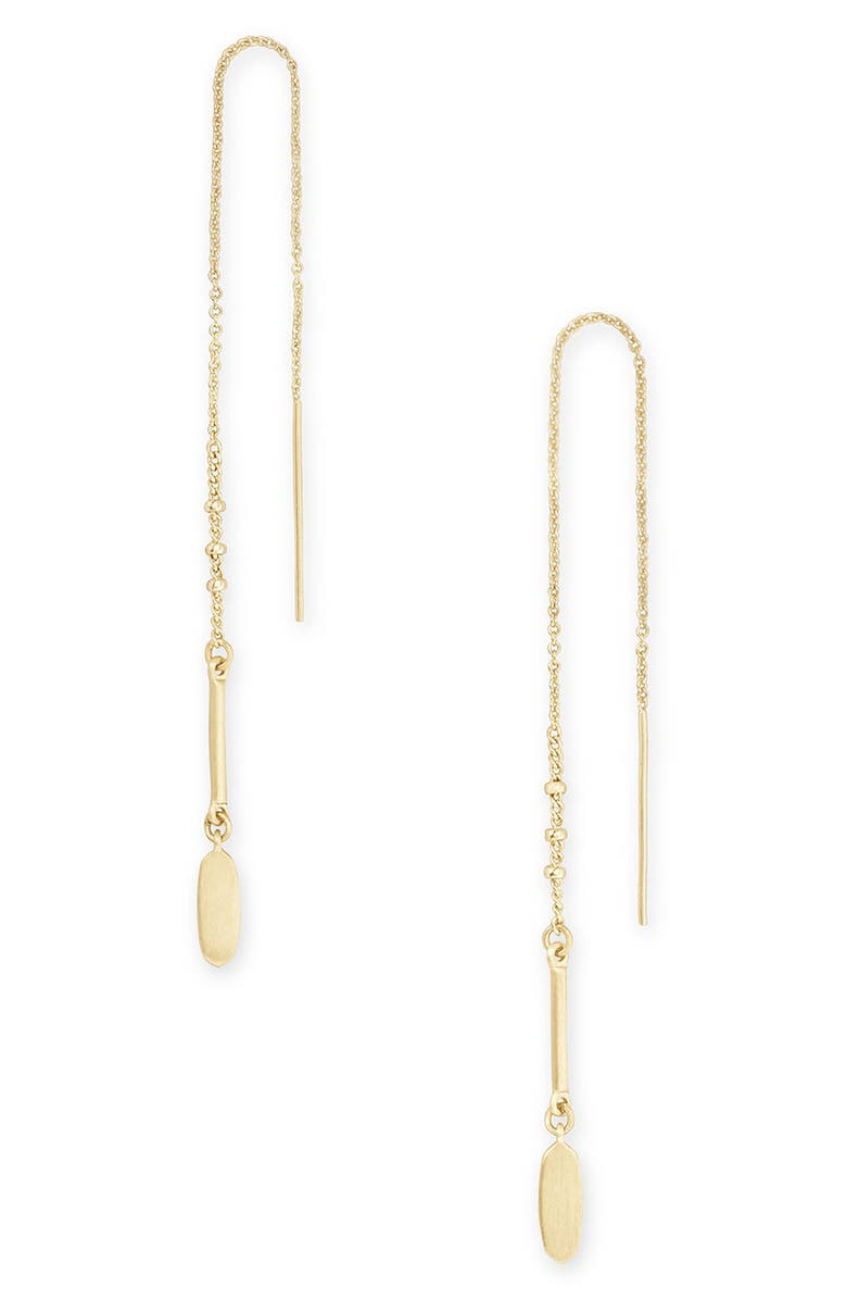 KENDRA SCOTT Fern Threader Earrings, Main, color, GOLD