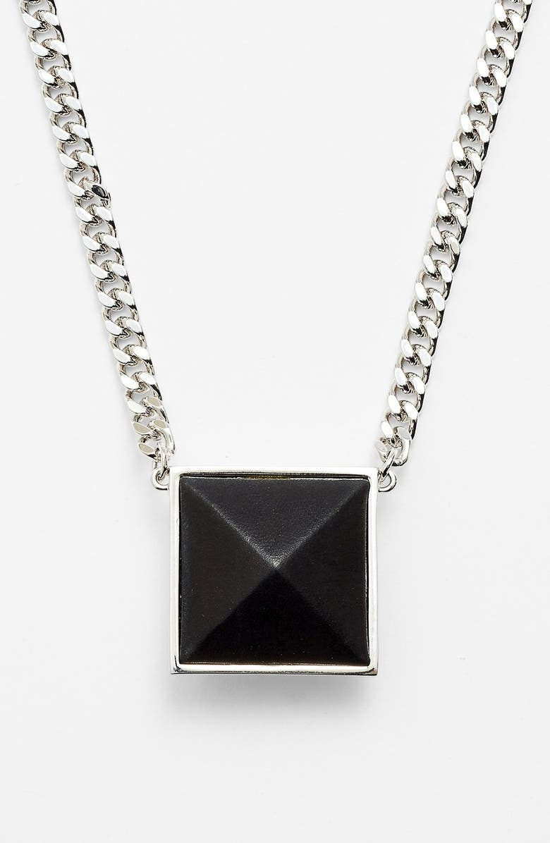 VINCE CAMUTO 'Blow Up Pyramid' Long Leather Stud Pendant Necklace, Main, color, BLACK/ SILVER