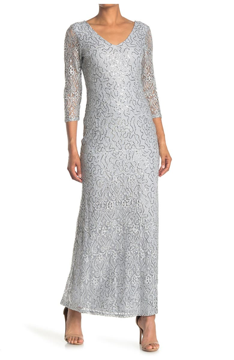 MARINA Sequined Lace Gown, Main, color, SIL