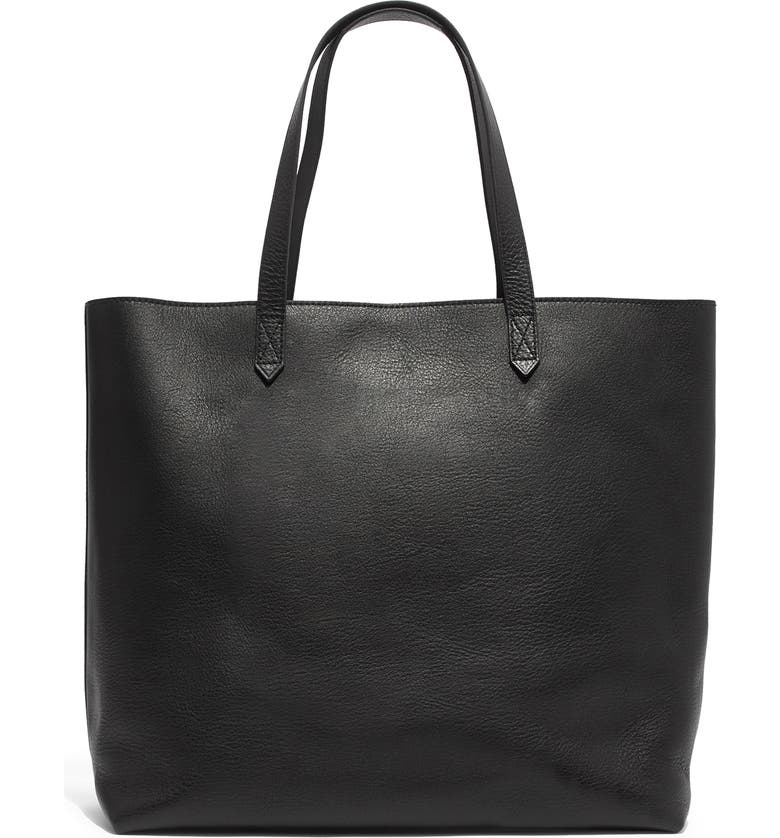 MADEWELL Zip Top Transport Leather Tote, Main, color, 001