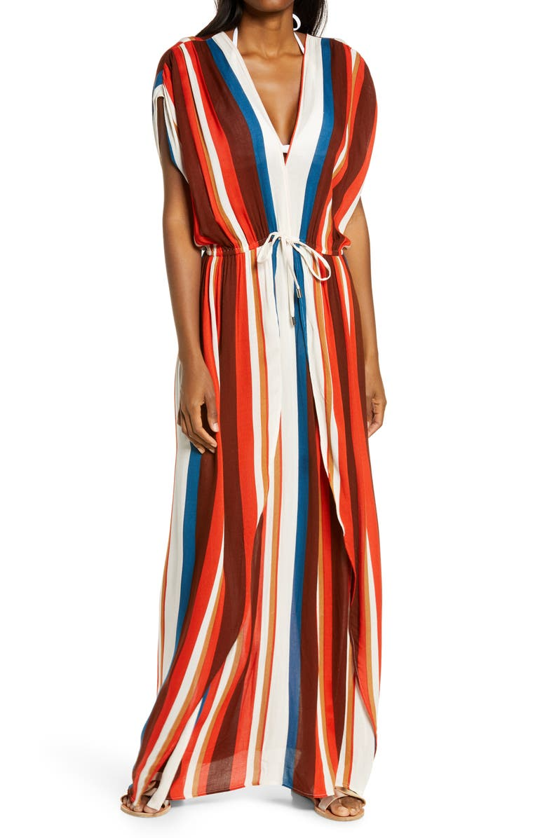 ELAN Maxi Cover-Up Dress, Main, color, COCOA STRIPE
